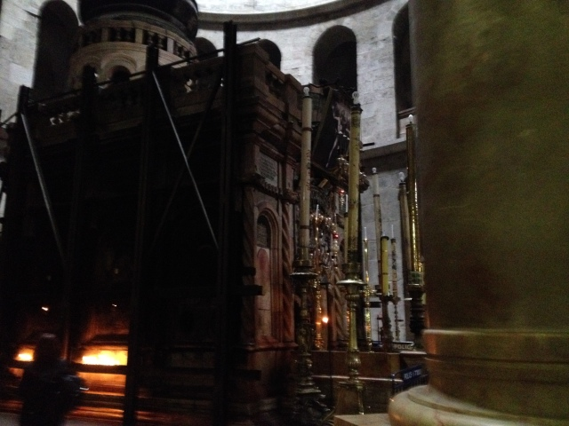 The Tomb of Jesus inside the Church of the Holy Sepulcher where different churches and denominations vie for their right to the claim.