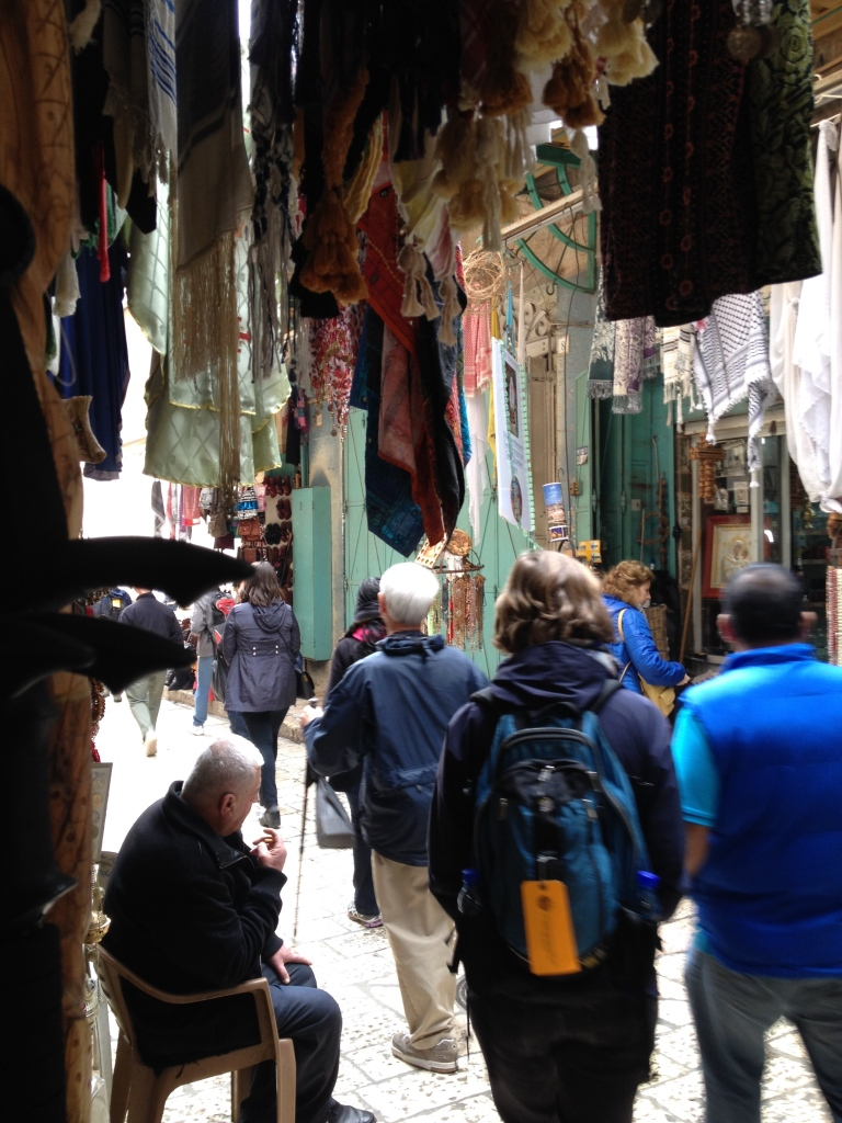 Walking through the market streets on the Via de la Rosa.