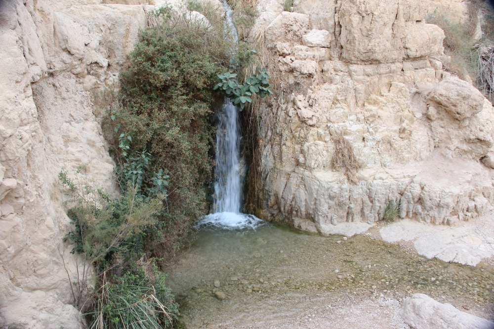 The lower of the two waterfalls.