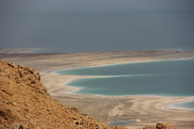 A view of the Dead Sea from the road.
